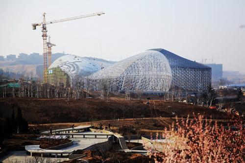 一个个捷报不断传来:各大场馆,主体建筑陆续封顶,精细绿化让园区地表