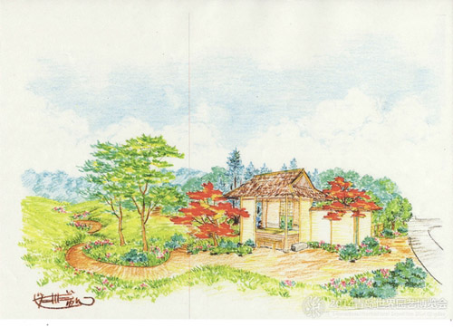 京都展园手绘效果图