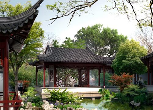 菊香馆效果图; 美丽江苏园 重现苏州古典园林风貌;