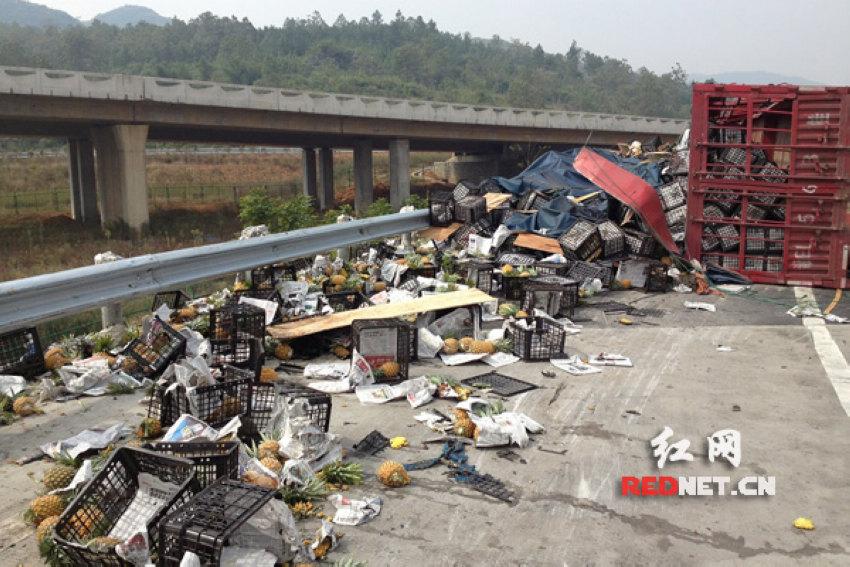 湖南大货车侧翻 价值10万的20吨菠萝遭村民哄抢[组图