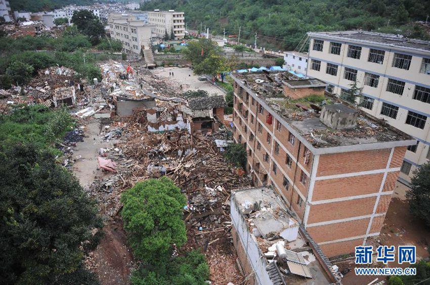 高清 航拍云南鲁甸地震震中图片
