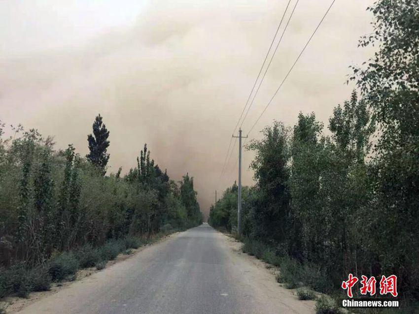 截至记者发稿,新疆南部巴州且末县,和田地区仍处于浮尘天气.张娟 摄