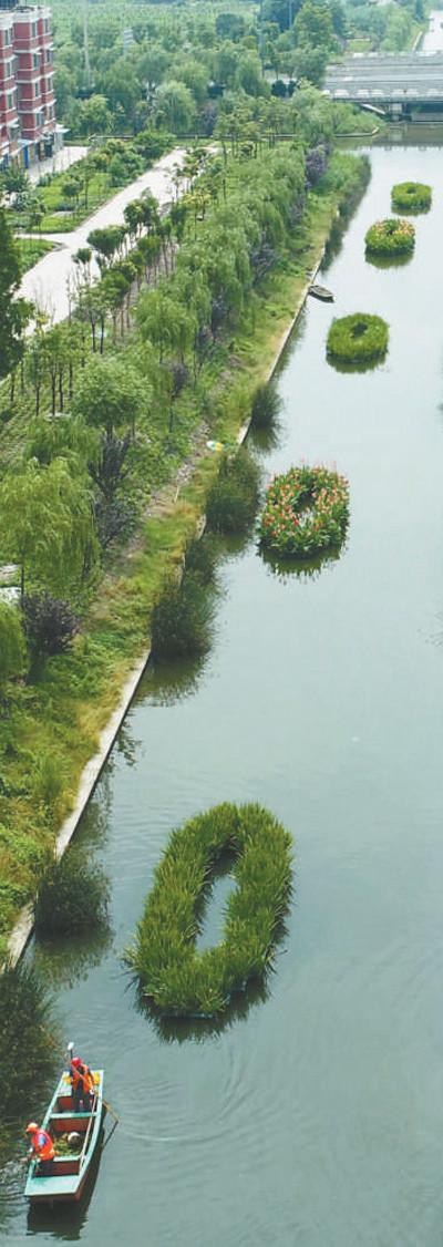 江苏省海安县城东镇洋蛮村河道清理工正在整治河道.