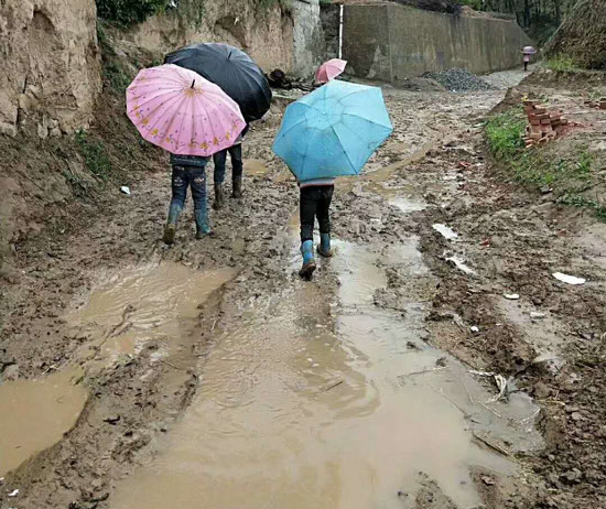 雨天孩子们在上学的路上 (网友供图)