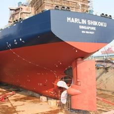 大型民营船企江苏新时代造船有限公司正在建造的货轮。