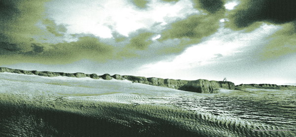 新中国成立初期右玉县右卫古城北城墙外黄沙侵袭